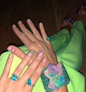 Blake Lively's rainbow negative space manicure