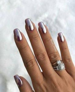 silver metallic manicure