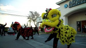 performing lion dance